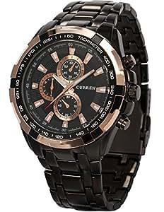 AMPM24 goldene Ring Herren Uhr Analog Quarzuhr Edelstahl schwarz Armbanduhr + AMPM24 Geschenkbox