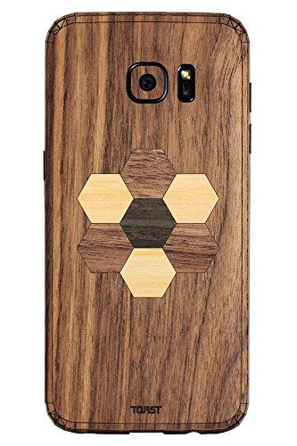 TOAST Skin für Samsung Galaxy S7 Edge (Echtholz), Einzelhandelsverpackung, Walnut with Hexagon Inlay Kit (Holz-inlay-kit)