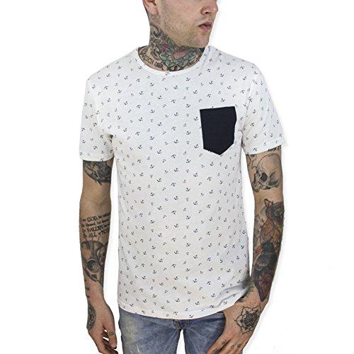 VIENTO Anchor Plot Pocket Herren T-Shirt (WeiB, XL)