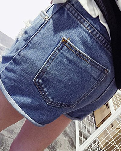Denim Hotpants Damen Dünn Vintage Zerrissen Kurze Destroyed Jeans-Shorts Blau
