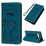 WaackGG Hülle Handyhülle FlipCase Kompatible mit Samsung Galaxy S10 Plus Tasche Handytasche Leder Wallet Schutzhülle Magnetisch Kartenfach Ständer Anti-Fall Etui Auto-adsorption Katze und Fisch