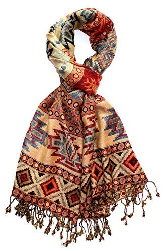 LORENZO CANA Marken Pashmina Schal Schaltuch Stola Umschlagtuch Naturfaser opulentes Muster in harmonischen Farben mit Fransen 70 x 200 cm