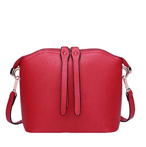 Shell-Paket Art Und Weiselederhandtaschen Freizeit-Schulterbeutel Kurierbeutel Einfache Freizeit Wild Red1