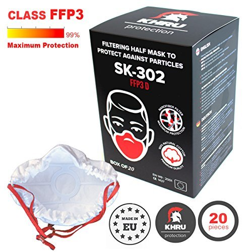 20x Atemschutzmaske FFP3 | Atemmaske Atemschutz Halbmaske Staubschutz Respirator Disposable Breathing Dust Mask Staubmasken Feinstaubmaske filter | Air Filtration with Electrospun Nanofibers