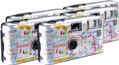 TopShot I mog di - Cámaras desechables (27 fotos, flash, 5 unidades), color blanco [Importado de Alemania]
