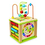 Othrando Activity Cube Baby Educational Toys Wooden Bead Maze Shape Sorter for 1
