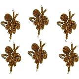 Handmade Butterfly Beaded Napkin Rings Set Of 6,Coffee Brown