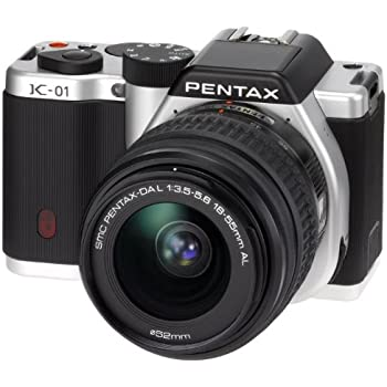 Pentax K-01 Compact System Camera with 18-55mm Lens Kit - Silver