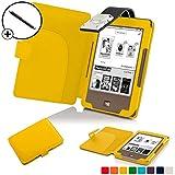 Forefront Cases® Tolino Page Shell Hülle Schutzhülle Tasche Bumper Folio Smart Case Cover Stand mit LED Licht - Leicht mit Rundum-Geräteschutz inkl. Eingabestift (Gelb)