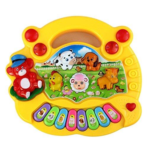 Elecenty Baby Lernspielzeug Klavier Musik Tierfarm Spielzeug Frühe Erziehung Kinderspielzeug Beliebt Unisex Kinder Spielzeug Kindergeburtstag Tastatur Klavierspielzeug (17 cm, Mehrfarbig)