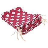 Prettyia Sacchetti del Regalo della Festa Nuziale delle Borse del Cordone Dell'imballaggio di 10Pcs 7 di Stile dei Gioielli - Rosso, 12 x 16cm