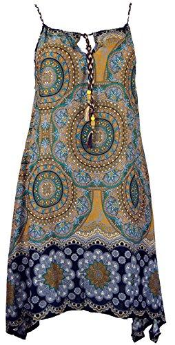Guru-Shop Boho Dashiki Midikleid, Trägerkleid, Strandkleid für Starke Frauen, Damen, Goldgelb, Synthetisch, Size:One Size, Lange & Midi Kleider Alternative Bekleidung