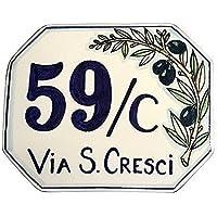 CERAMICHE D'ARTE PARRINI- ceramica italiana artistica, numero civico 15x12 personalizzato, decorazione olivo , dipinto a mano, made in ITALIA
