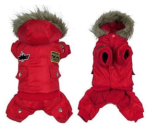 Ranphy USA Air-force Medium Puppy Hiver Vêtements pour animaux Manteau à capuche Bordure Chien JumpSuit
