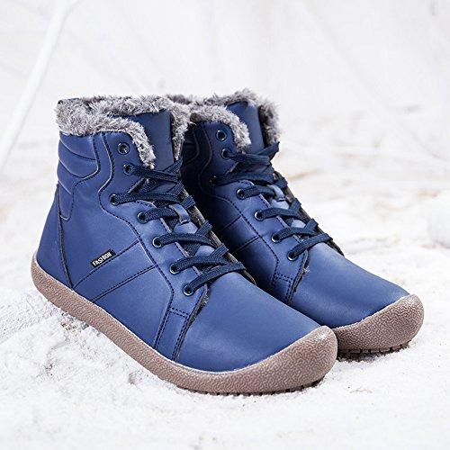 Sitaile Mens Inverno Caldo Stivali Imbottiti Stivali Da Neve Allacciati Impermeabili Antiscivolo Stivali Scarpe Invernali Allaperto Blu
