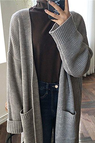 Les Femmes Les Épaule Rideaux Split Cardigan Knit Extérieur De La Tenue De Lhiver Grey