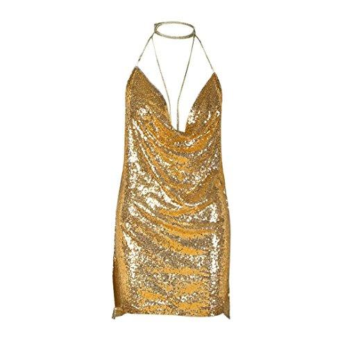 Sannysis Damen Backless Sequin Kendall Kette Choker Slip Kleid Gold