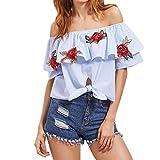 West See Damen Schulterfrei Shirt Stickerei Sommer Bluse Mode Frauen reizvolle weg Schulter-Rose-Stickerei Muster-Spitze Kurzarm Bluse gestreifte Tops Blau