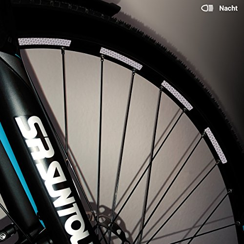Motoking Fahrrad-Reflektorenaufkleber mit Waben-Reflex-Optik - Weiß - 26 Aufkleber im Set - Breite: 7 mm - reflektierende Felgenaufkleber für Trekkingbike-, Fahrradfelgen & mehr Wabe