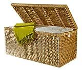 Artra Truhe mit Klappdeckel 110 cm, atmungsaktiv, natur, Nachhaltige Aufbewahrungsbox mit Deckel Aufbewahrungskiste Aufbewahrungstruhe Wäschetruhe Auflagenbox