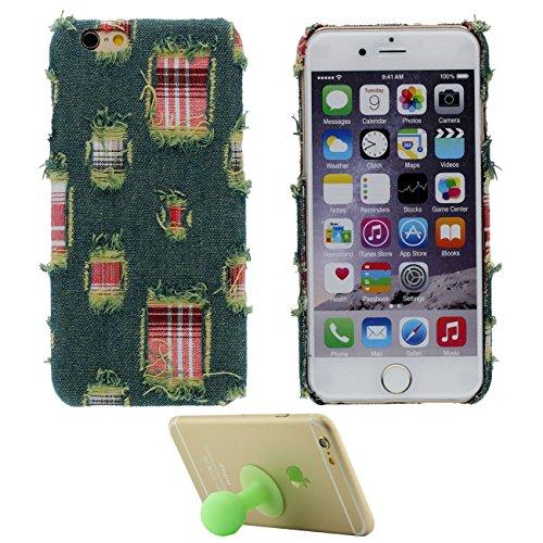 Coque iPhone 6S Véritable Denim Tissu Matériel Case Étui de Protection pour Apple iPhone 6 6S 4.7 inch Dur Mince Léger avec 1 Silicone Kickstand vert
