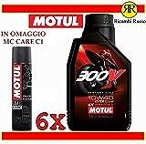 Olio motore moto 4 tempi 300 V road racing 10w40 litri 6 + OMAGGIO MC Care motul C1 Chain Clean