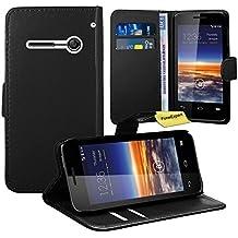 Vodafone Smart 4 Mini Funda, FoneExpert® Wallet Flip Billetera Carcasa Caso Cover Case Funda de Cuero Para Vodafone Smart 4 Mini (Negro)