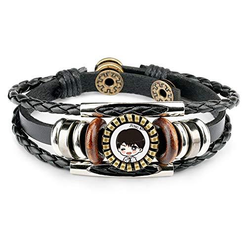 KroY PecoeD BTS Armband, Kpop Bangtan Jungen handgemachtes ledernes Seil Armband Wristband Art- und Weiseschmucksache Armband Mädchen Frauen und A.R.M.Y.(Style 09) -