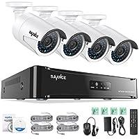 SANNCE 4CH 1080P HD PoE NVR Système de Caméra de Surveillance + 4 POE caméra Intérieur/Extérieur Etanche 1080P 2 Megapixels Haute Résolution IP Caméra de Sécurité QR Code Accès à distance via Smartphone/PC (4CH 1080P NO HD)