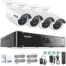 Sannce POE Überwachungskamera Set, 1080P 4CH POE NVR + 4*1080P Überwachungskamera ohne Überwachungsfestplatte,Fernzugriff,Bewegungserkennung,Nachtsicht bis zu 30 Meter