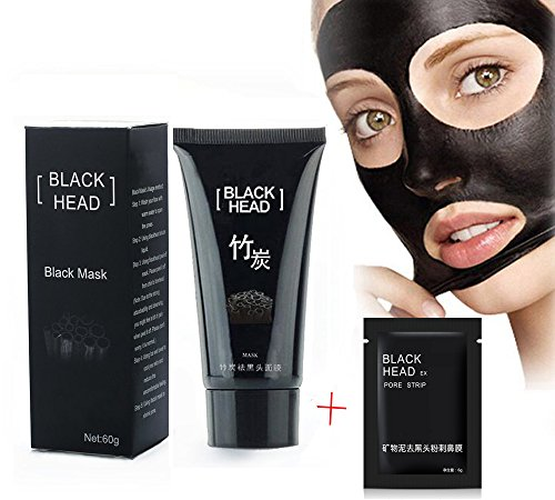 Noir Masque, Masques Exfoliants et Nettoyants, Visage Masque Femme, Black Mud Mask, Head Acné Remover Masque Deep Cleansing Purifying Peel-off Mask Boue Minérale Nez Nettoyage Masque, Pore Cleanser Masque, Beauté Soin de la peau Blackhead Masque (60g)+1PC Nez Masque