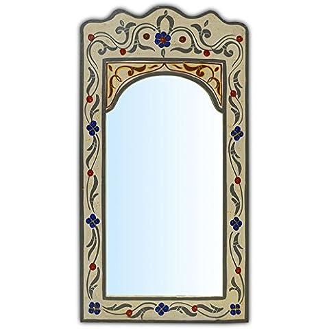 Espejo en arco marroquí de tamaño medio pintado a mano- color crema - Altura 36cm Ancho 25cm