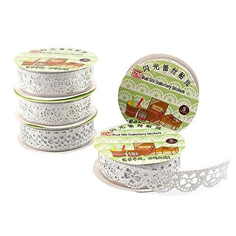 5 Rollen Lace Decor Kreatives Klebebänder Glitter Gold Pulver Spitzenband Selbstklebend Washi Tape Spitze Dekobänder Papier Aufkleber Kunsthandwerk DIY - ca. 100x18 mm (Silber)