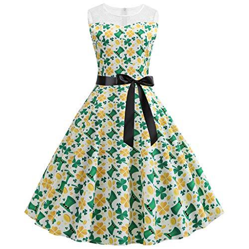 VJGOAL Damen St. Patrick's Day Kleid Retro Mode Party Spitze Nähen Drucken Bogen Ohne Arm Großes Pendel Kleiden Frau Geschenk(Grün,38)