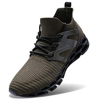 Wonesion Herren Fitness Laufschuhe Atmungsaktiv Rutschfeste Mode Sneaker Sportschuhe ,46 EU, 3-army Green