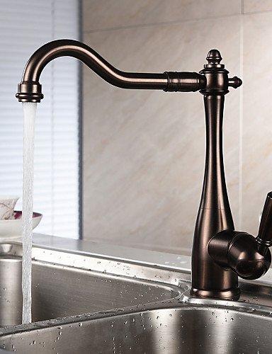 YFF@ILU Home deco Centerset einzigen Griff ein Loch mit Öl eingerieben Küche Wasserhahn , Bronze Dunkel Rot -