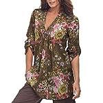 Bovake Women Vintage Floral Print V-neck Tunic Tops Blouse Women's Fashion Plus Size Tops (L3, Coffee)
