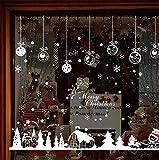 LCXYYY Fensterfolie Weihnachten Schneeflocken Fensterbilder Statisch Haftende PVC-Sticker Weihnachten Fensterdeko Aufkleber WandtattooFensteraufkleber Weihnachten Elch