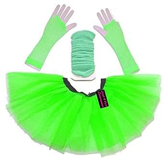 3 Layer Green Tutu Skirt, Legwarmers & Fishnet Gloves - plus size 16 to 20 - 9 colours (Green)