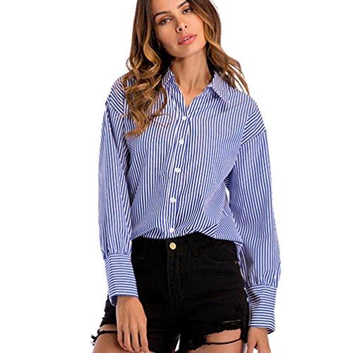 Niseng donna camicia maniche lunghe risvolto camicia bottoni camicia righe verticali camicie casual blu l