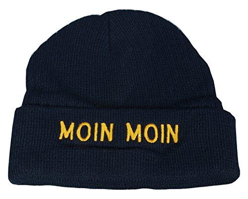 Maritime Strickmütze Mütze mit Schriftzug Moin Moin blau One Size