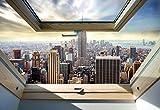 New York Skyline Der Stadt 3D-Dachfenster-Ansicht Vlies Fototapete Fotomural - Wandbild - Tapete - 312cm x 219cm / 3 Teilig - Gedrückt auf 130gsm Vlies - 10415VEXXL - New York Vergleich