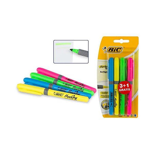 BIC Highlighter Grip Marcadores punta biselada Ajustable – colores Surtidos, Blíster de 3+1