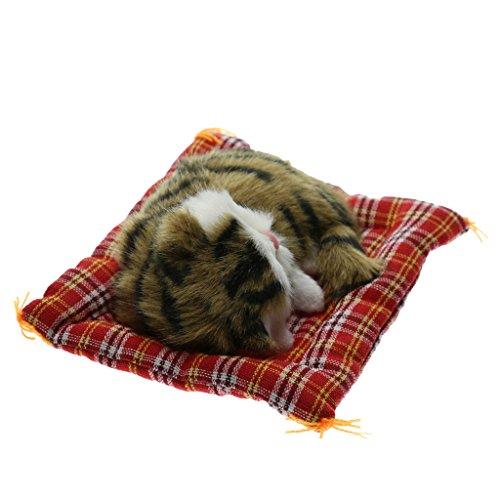 Preisvergleich Produktbild Baoblaze Mini Dekofigur Schlafende Kätzchen Tierfigur Gartendeko Dekokatze Presse Ton - Braun,  13 x 8x 4cm