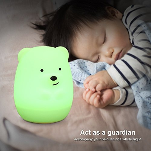 Bunte Nachtlicht Niedlichen Kaninchen und Bär Tragbare Silikon LED Schreibtischlampe Kinder Nachttischlampe mit 9 Farbe für Baby/Schlafzimmer/Büro (Bär)