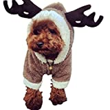 DWE Christmas Dog Outfits, Reindeer Deer Elk Design Dog Clothes Pet Costume Puppy Outwear Coat For Teddy Chihuahua Yorkshire Terrier (M)