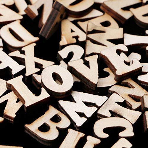 Leisial 100 pcs Wooden Capital Scrabble Tiles Alphabet Letter Numbers for Crafts Jewellery Making Arts DIY Decoration Displays (Letter) (Letters)