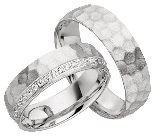 ehering gehaemmert 2 x 585 Gold Eheringe Partnerringe Trauringe Hochzeitsringe in Weißgold gehämmert*mit Gravur und Steinen* JC017