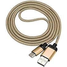 "Type C Charging Cable, KEERADS 2M USB-C USB 3.1 Tipo C Conector macho para escribir un cable de datos macho para Nokia N1 Tablet,Oneplus 5 Five, Samsung Galaxy S8 / S8 Plus, ZTE Zmax Pro Z981,Chromebook Pixel 2015, MSI Gaming Notebooks,12"" Macbook Retina (Oro)"