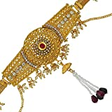 #5: DzineTrendz Brass Gold plated, Round shaped,Kundan Meenakari, Cross Jhalar pattern with Pearl tassled, Stylish Traditional, Waist belt, Belly chain, kamar bandh Traditional Women Bridal jewellery latest